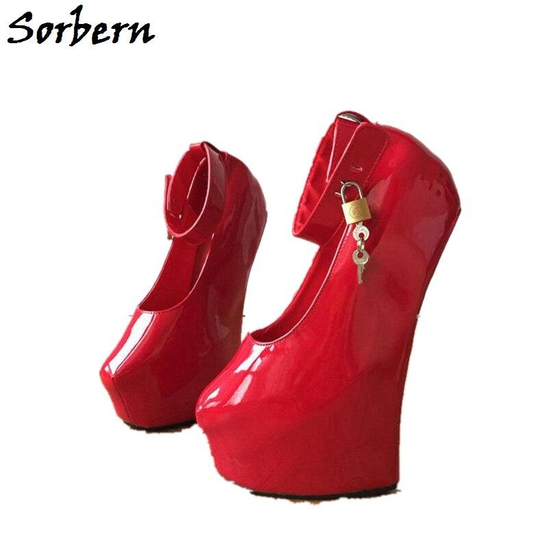 Sorbern Sexy Fetish Heelless Hoof Sole Women Pump Wedge High Heel Platform Pump Lockable Padlock Strap Patent Red Shoes Big Size