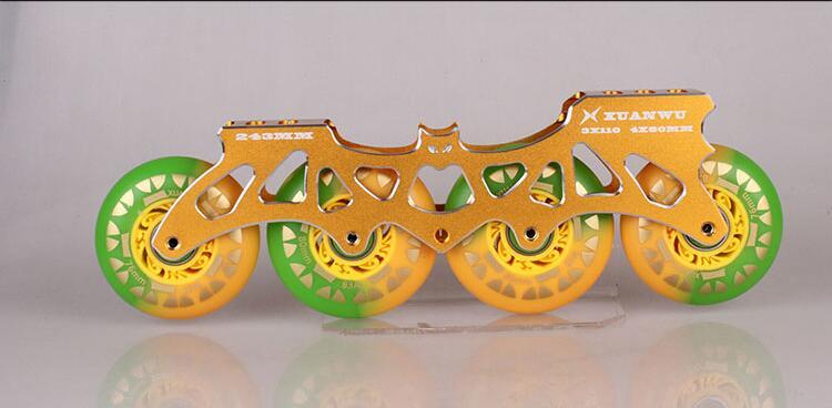Livraison gratuite! 4X80mm 243mm patins à roues alignées cadre + 83A roue en polyuréthane + ILQ-9 608 roulement, 165mm 195mm support Slalom FSK