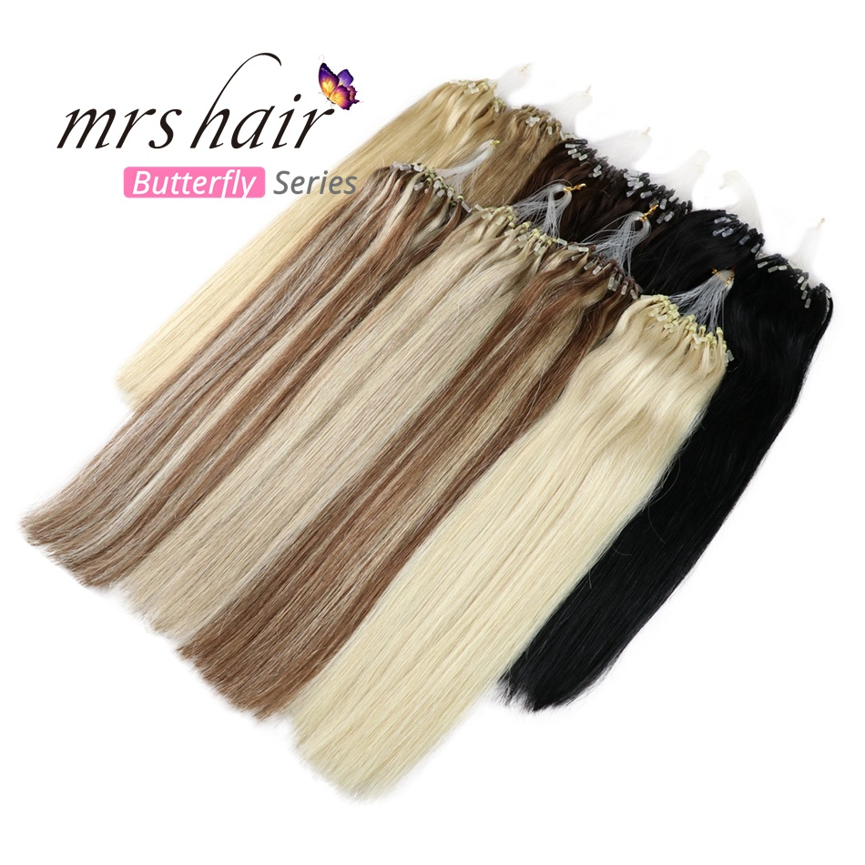 "MRSHAIR Micro Ring Hair Extensions 1g/Stand 50pieces Machine Made Remy Micro Bead Hair Loop Human Hair 14""-22"" Butterfly Series"