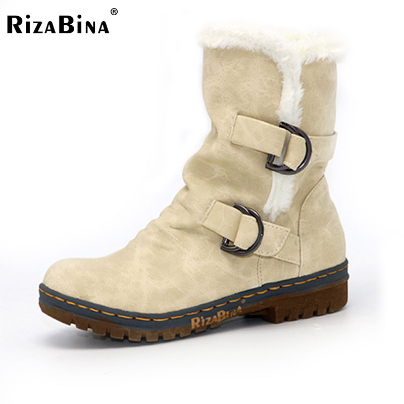 RizaBina Women Round Toe Ankle Boots Woman Warm Fur Winter Snow Boots New Fashion Buckle Style Footwear Low Heel Shoes Size34-43 women winter flats chunky heel genuine leather round toe embroidery fashion warm snow ankle boots size 34 39 sxq01005