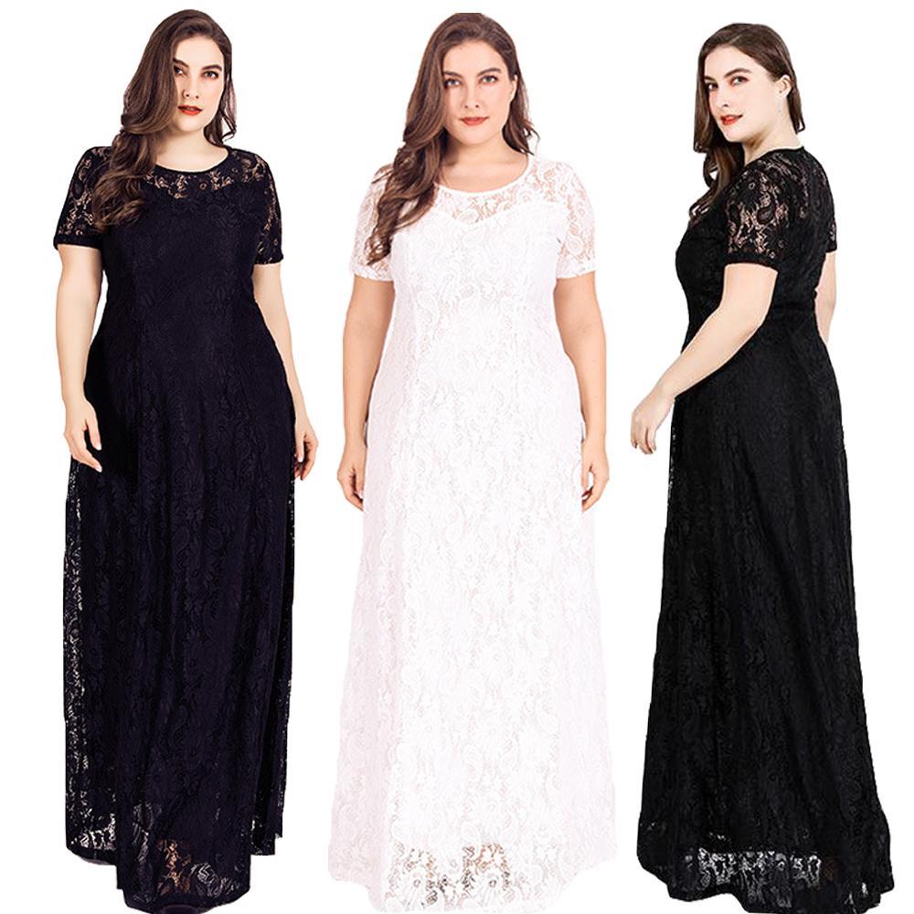 Grande taille femmes dentelle robe longue Maxi robe de soirée formelle robe de bal col rond cheville longueur lâche robe évider nouveau