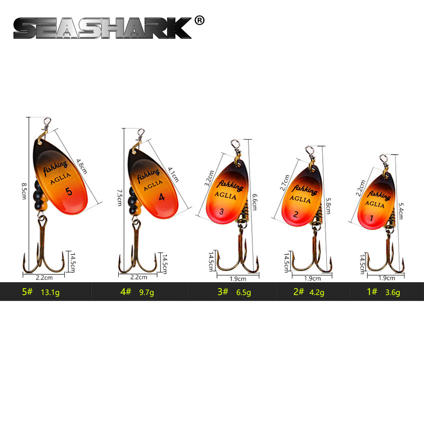 SEASHARK Metal Spoon mepps Treble Fishing Hook 1# 2# 3# 4# 5# Fishing Lure Spinner Bait Fishing Tackle Metal Lures Set goture 96pcs fishing lure kit minnow popper spinner jig heads offset worms hook swivels metal spoon with fishing tackle box