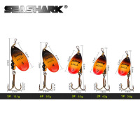 SEASHARK Metal Spoon Mepps Treble Fishing Hook 1 2 3 4 5 Fishing Lure Spinner Bait