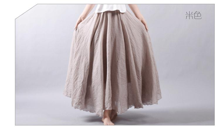Sherhure 19 Women Linen Cotton Long Skirts Elastic Waist Pleated Maxi Skirts Beach Boho Vintage Summer Skirts Faldas Saia 34
