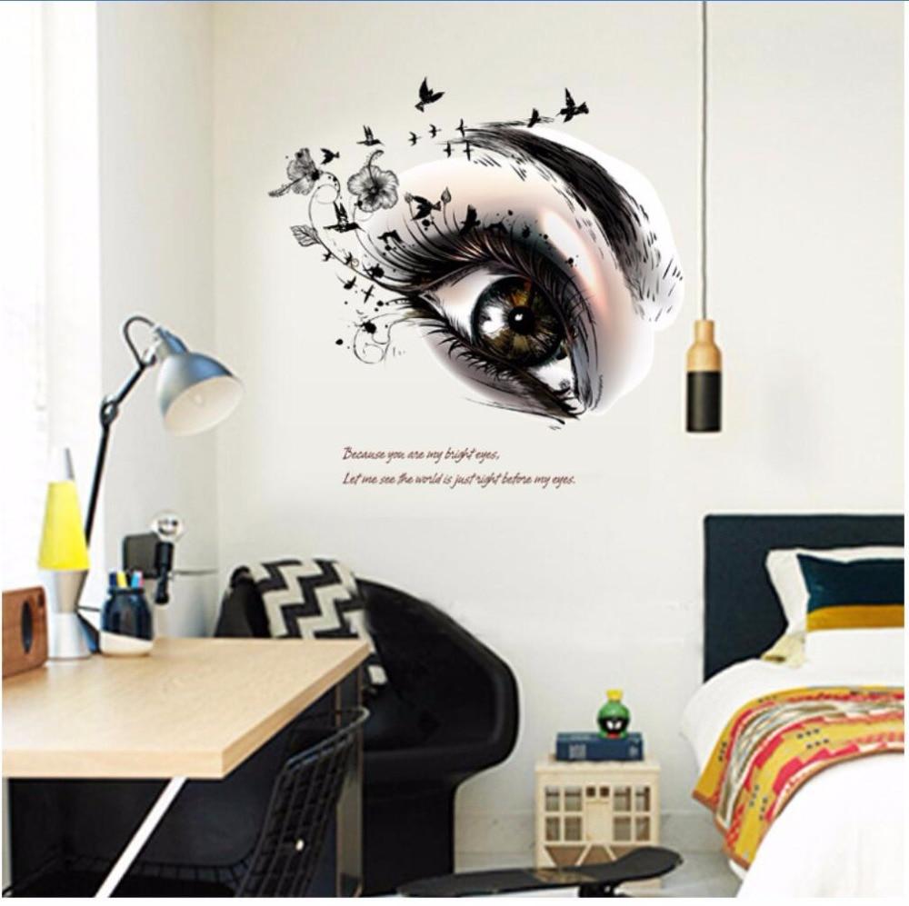 2017 New Big Eye Art Wall Sticker Beauty Salon Diy Vinyl