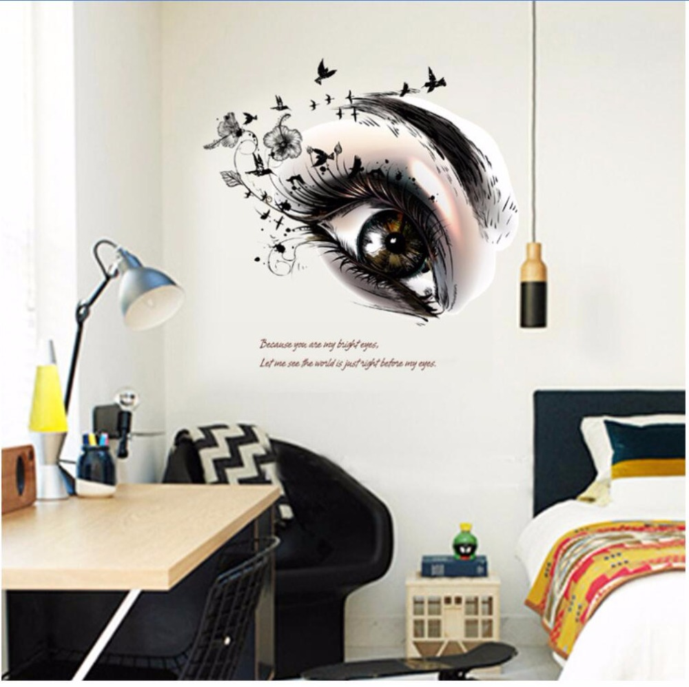 Eyes wall stickers wow modern beauty salon valentine wall decoration - 2017 New Big Eye Art Wall Sticker Beauty Salon Diy Vinyl Removable Home Decor Stickers Living