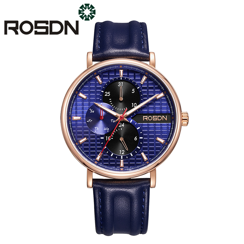 ROSDN Fashion Mens Watches Top Brand Luxury Quartz Watch Men Casual Date Waterproof Multifunction Sport Watch Relogio Masculino