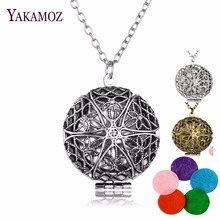 Aromatherapy Locket Necklace Silver/Bronze color with Madala Flower Shaped  Pendant Oil Essential Diffuser Necklace for Women