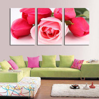 3 Pieces In One Set Living Room Beautiful Red Rose Flowers Printing Canvas Paintings Bedroom Pictures