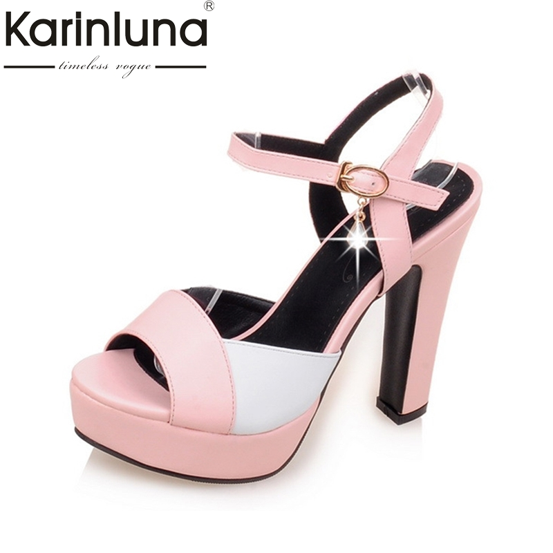 KarinLuna Big Small Size 31-43 Peep Toe High Heels Women Shoes Buckle Up Crystal Mixed Color Platform Summer Woman Sandals проф пресс любимые сказки сказки русских писателей