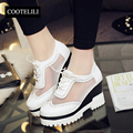COOTELILI35-39 Spring Wedges Casual Flats Women Shoes Solid Platfoems Carved Girls Shoes Preppy Round Toe British Brogue Shoes