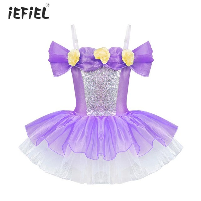 2d6aabc10 Girls Professional Ballet Tutu Dress Sleeveless 3D Flowers Tulle ...