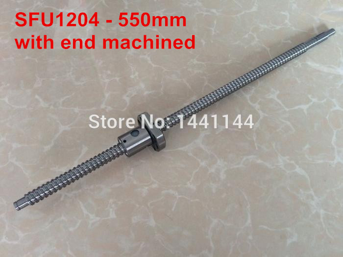 Free Shipping  SFU1204 - 550mm Rolled Ball screw + ballnut + end machining for BK/BF10 standard processing CNC part