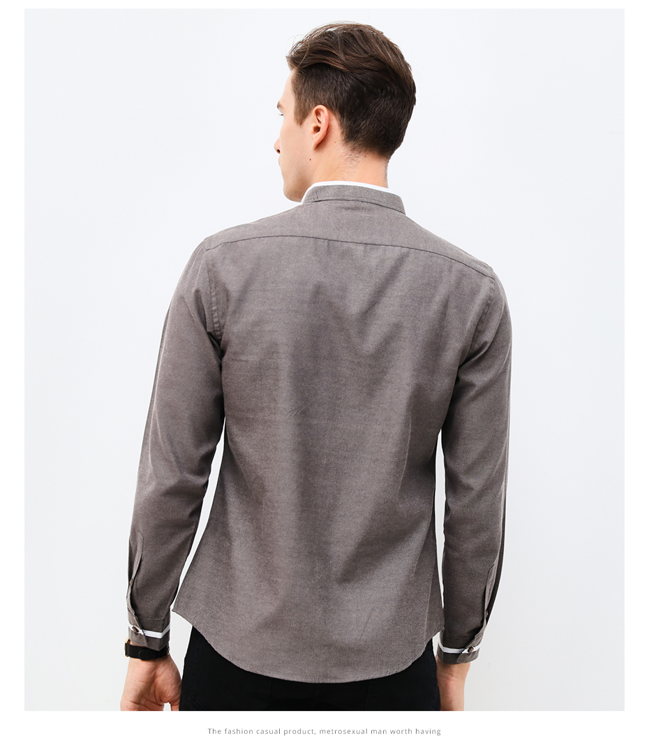 Fashion Casual Long Sleeves Mandarin Collar Slim Fit Men Shirt