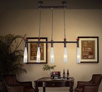 Retro Loft Style Water Pipe Wine Bottle Industrial Pendant Lamp With 5 Lights For Dining Room