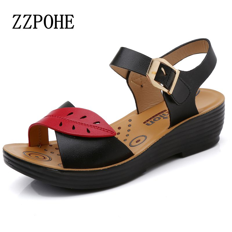 ZZPOHE 2017 Summer new middle-aged soft leather mother sandals soft bottom elderly large size flat woman non-slip sandals