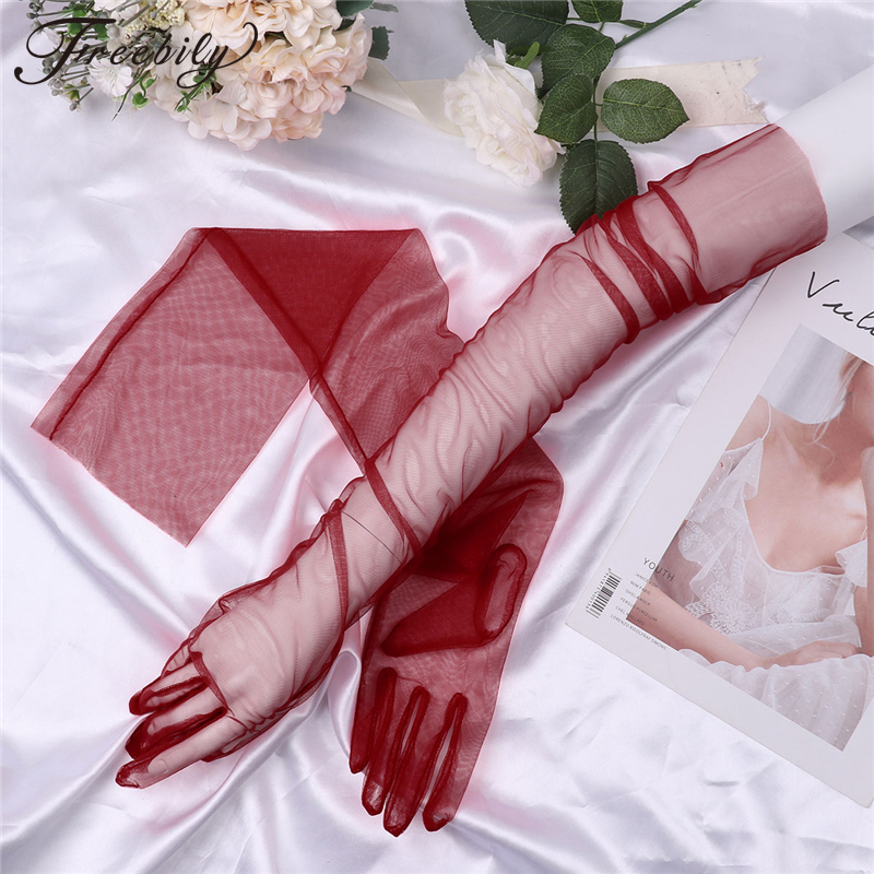 Sheer Tulle Gloves Ultra Thin Ultra Gloves Elbow Long Gloves Photo Shooting Accessory Halloween Gloves For Fashion Women