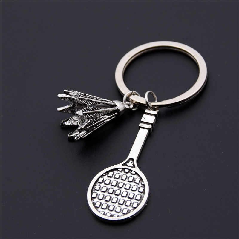1 PC Prata Raquete de Badminton Chaveiro Moda Bonito Mini Chaveiro de Metal Para O Homem Mulher Esportes Anel Chave Do Carro Presentes E232