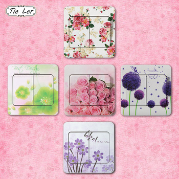 10 PCS High Quality Flower Series PVC Switch Stickers-Free Shipping For Bedroom Living Room