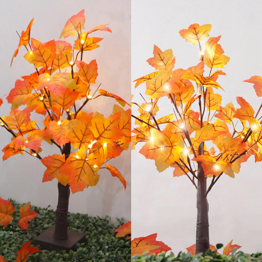 LAIDEYI Christmas Tree Maple leaf Tree light Battery Operated Small X-mas Tree With Lights 60cm Warm White/White 48 led tree