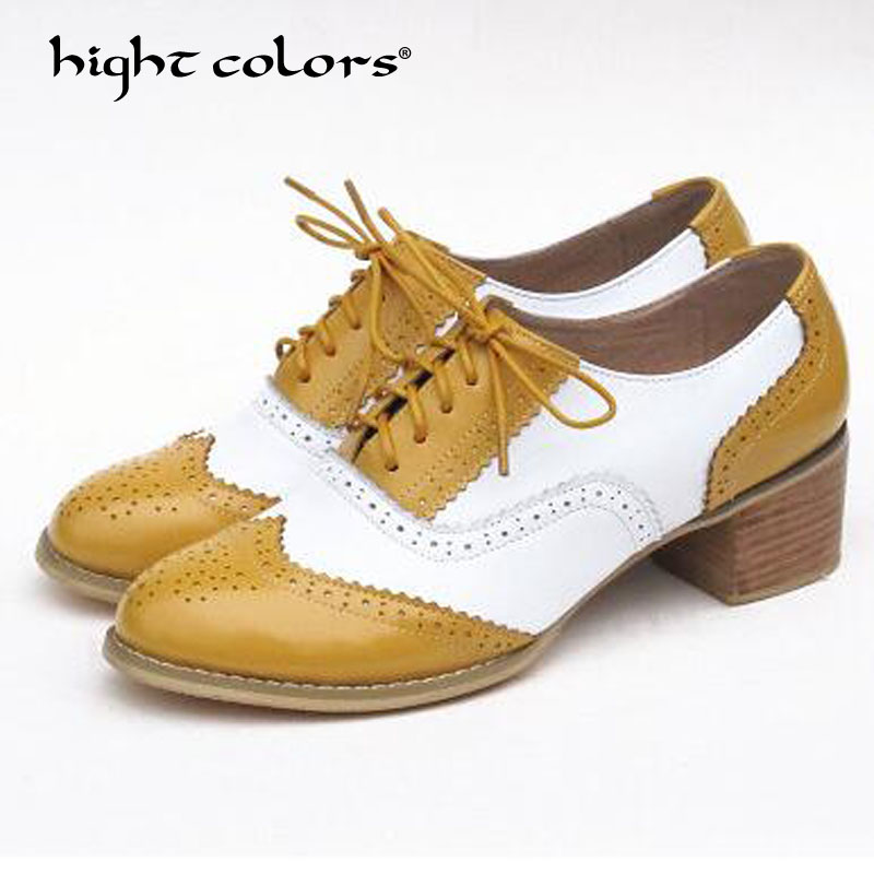 Brown Rond Richelieu Lace Plat Dames Vente Chaude Femmes Blue En Oxford Chaussures silver Purple Angleterre green White White Pink silver yellow Cuir Bout Pink Purple Style Mode Richelieus Véritable Pour Up a81aznP7q