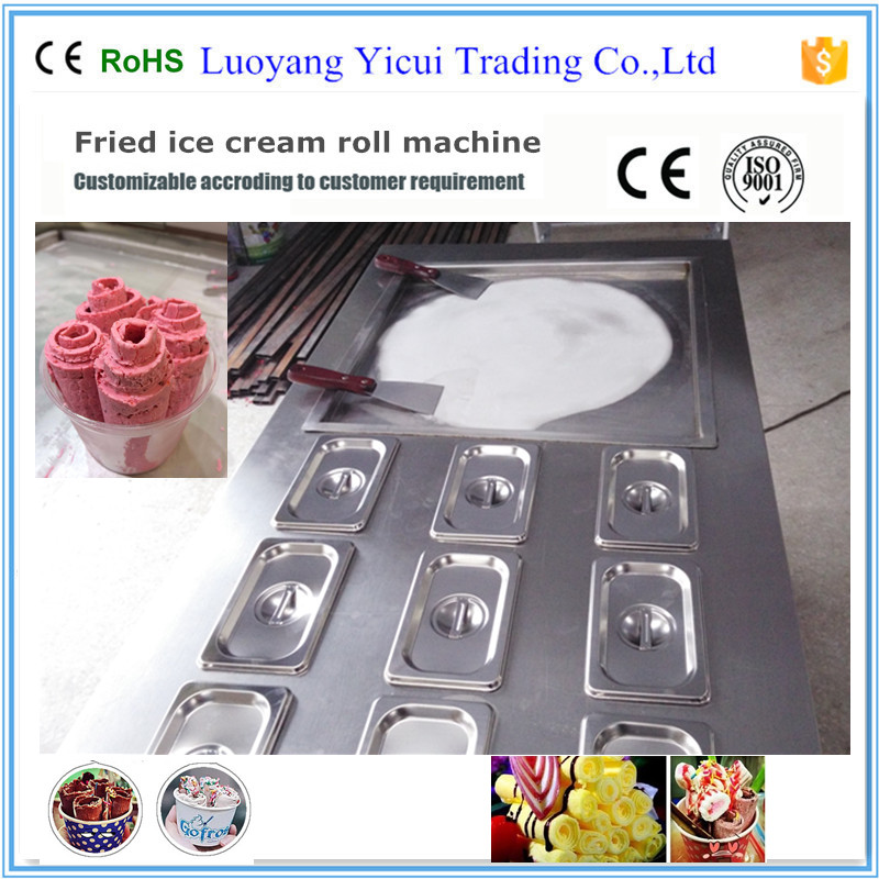 single pan fried ice cream roll machine with 9 containers chinese single round pan rolled ice cream machine fried ice cream roll machine with 6 barrels