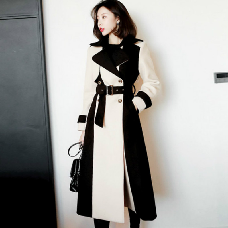 2019 Winter Long Outer Color Patchwork Mid-Calf Woolen Wind Coat Sashes Slim Office Work Casual Trench