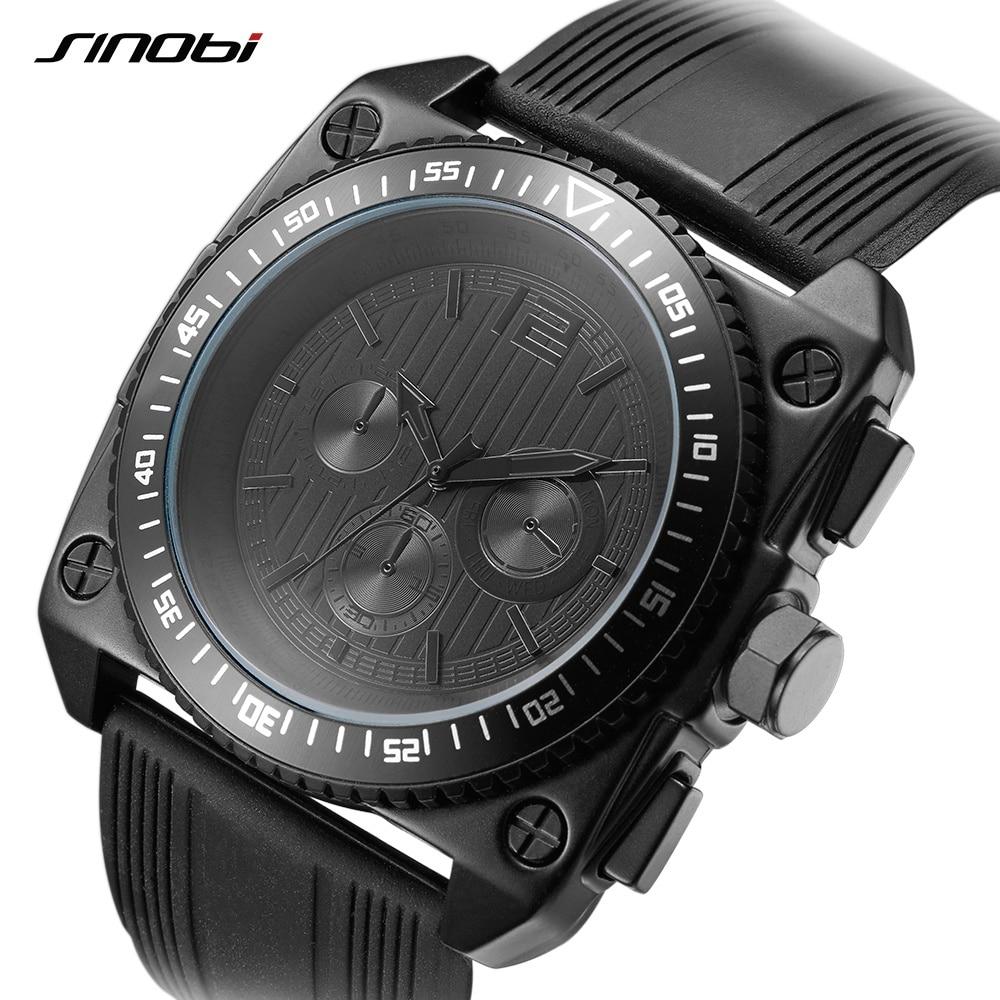 Reloj Hombre 2018 SINOBI Retro Men's Watch Military Watches Black Silicone Square Big Dial Quartz Watch Clock Men Drop Shipping