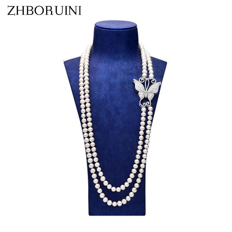 ZHBORUINI Fashion Long Pearl Necklace Statement Necklace Natural Freshwater Pearl Butterfly Pearl Jewelry For Women Accessories zhboruini fashion long multilayer pearl necklace freshwater pearl tassels women accessories statement necklace jewelry for women