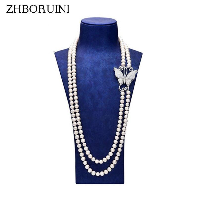 Zhboruini модные длинные жемчужные Цепочки и ожерелья заявление Цепочки и ожерелья естественный пресноводный жемчуг Бабочка Ювелирные изделия