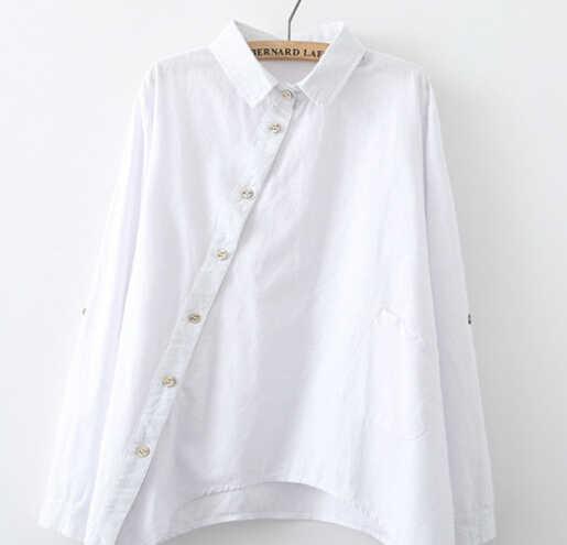 d8b2f10307a ... Новый осенний длинный рукав отложной воротник простой свободный  Национальный Ветер косой разрез Асимметричная рубашка блузка mori