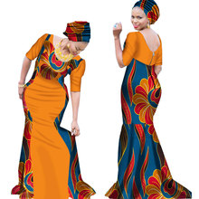 2017 Bazin Riche African Dresses for Woman Print Splice V Neck Mermaid with Head Tie Dashiki Clothes WY1645