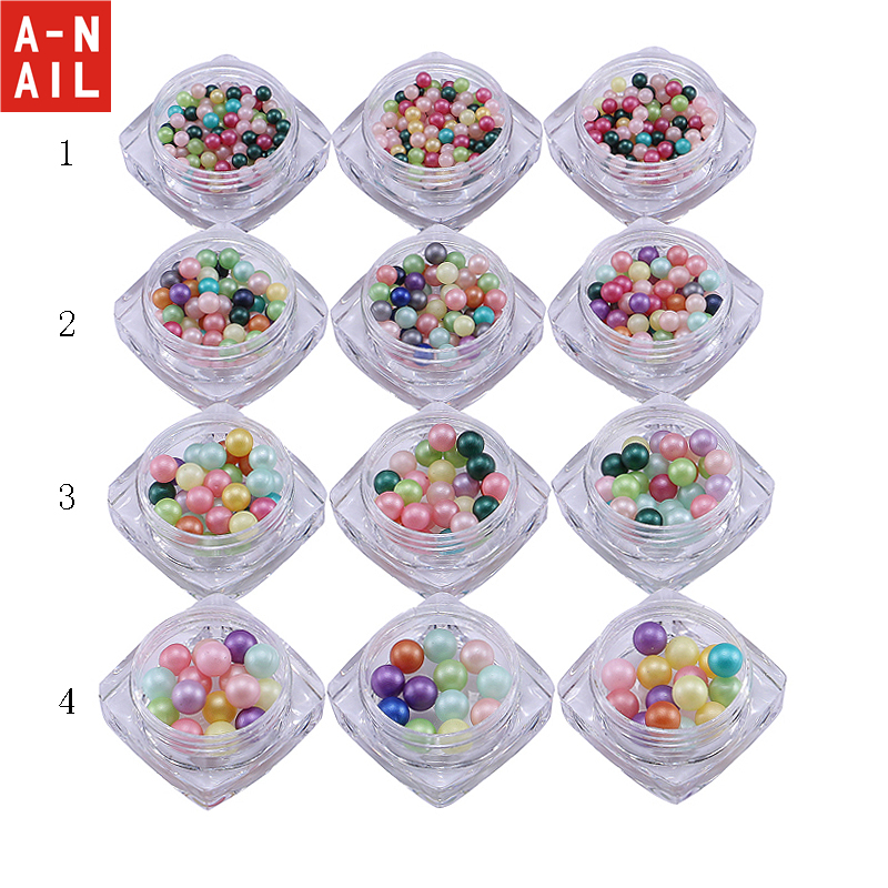 12jars/set Round Ball Nail Cotton Pearl Beads Japan New 3D Metal Pearl Stud Colorful  UV gel  Nail Art decorations caviar beads nail decoration micro pearl ball round mix colorful rhinestone manicure 3d nail art decorations glitters diy