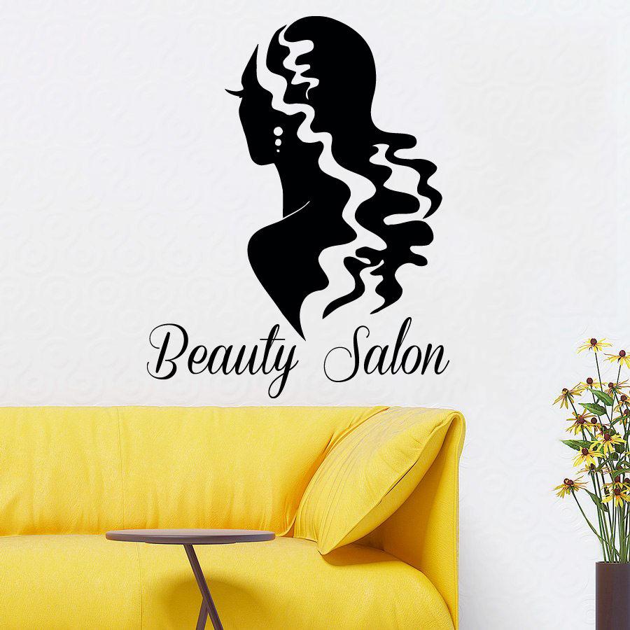 Wall Decals Model Girl Hair Beauty Salon Vinyl Sticker Mural Art ...
