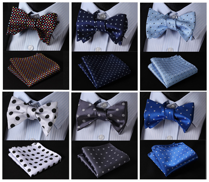 Polka Dot Classic 100%Silk Jacquard Woven Men Butterfly Self Bow Tie BowTie Pocket Square Handkerchief Suit Set