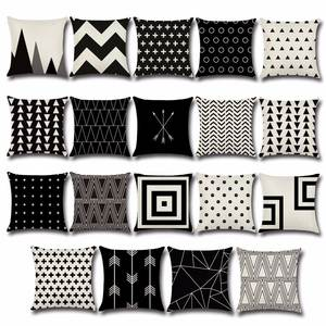 Dot Pillowcase Linen White Cushion And Geometric Square Wavy Pp36 Black 45--45