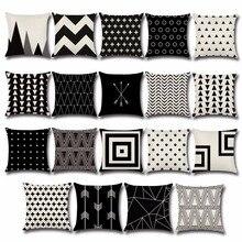 Dot Pillowcase Cushion And Geometric Square Linen Wavy Pp36 Black White 45--45
