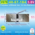 [V078] 3.8 V, 3.7 V, 8000 mAH, [4067184] PLIB (bateria de iões de lítio polímero bateria/Li-ion) para tablet pc, POWER BANK, E-BOOK