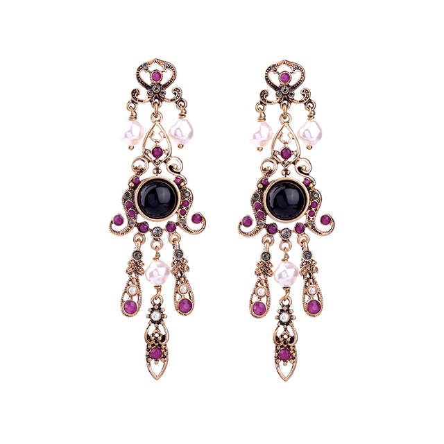 Vintage purple long earrings fashion indian jewelry piercing chunky vintage purple long earrings fashion indian jewelry piercing chunky statement chandelier earrings brincos aloadofball Choice Image