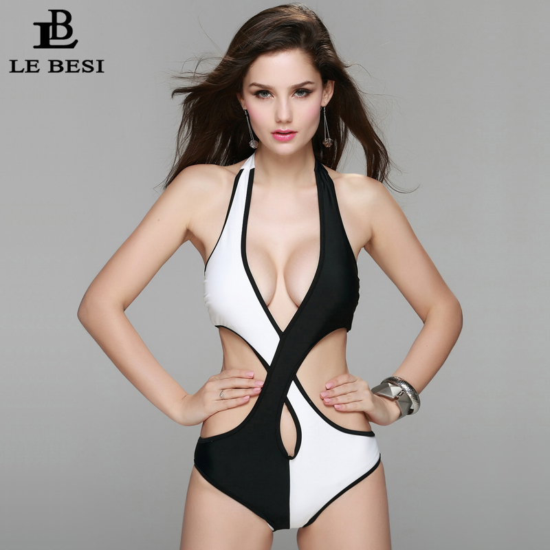2017 New Summer One Piece Swimsuit For Women Sexy Backless Monokini Contrast Color Plus Size S-XXL Push Up Brazilian Swimwear plus size scalloped backless one piece swimsuit