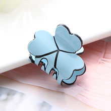 1PC Acrylic Women Mini Four Leaf Clover Hairpins Colorful Hair Claws Clips Clamp Barrettes Hair Pins Styling Tools Accessories(China)