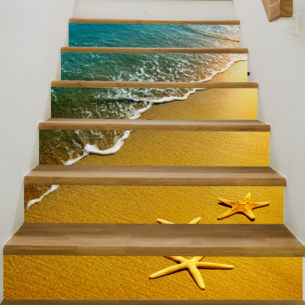 Image 5 - 6pcs 3D Ceramic Geometric Tile Floor Wall Stickers Self   Adhesive Stairway Stickers DIY For Room Stairs Decoration Home-in Wall Stickers from Home & Garden