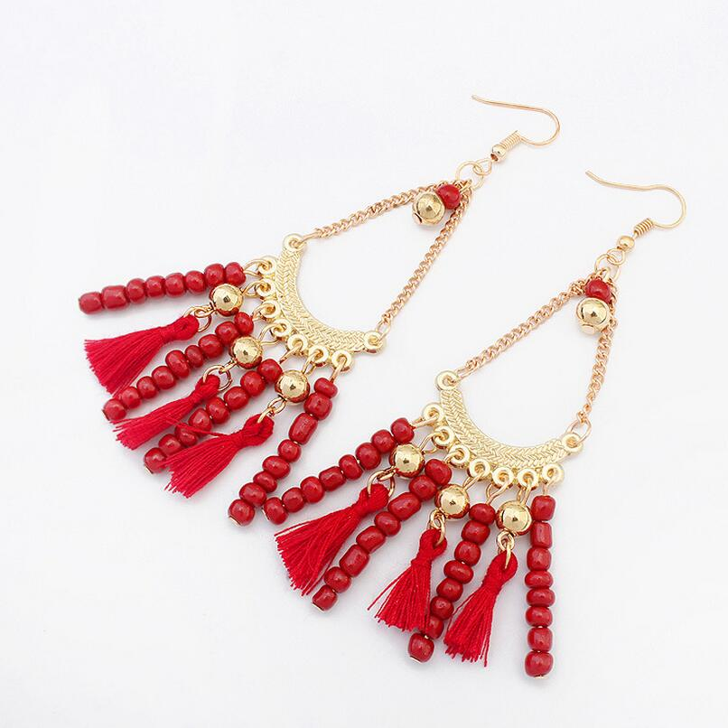 968ebc61362 US $2.19 |Multi Color Combo Seed Beads and Tessel Cord Lady`s Boho  Earrings-in Drop Earrings from Jewelry & Accessories on Aliexpress.com |  Alibaba ...