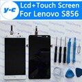 Para lenovo s856 lcd + pantalla táctil de 100% nueva pantalla digital reemplazo de cristal del panel para lenovo s 856 teléfono envío gratis