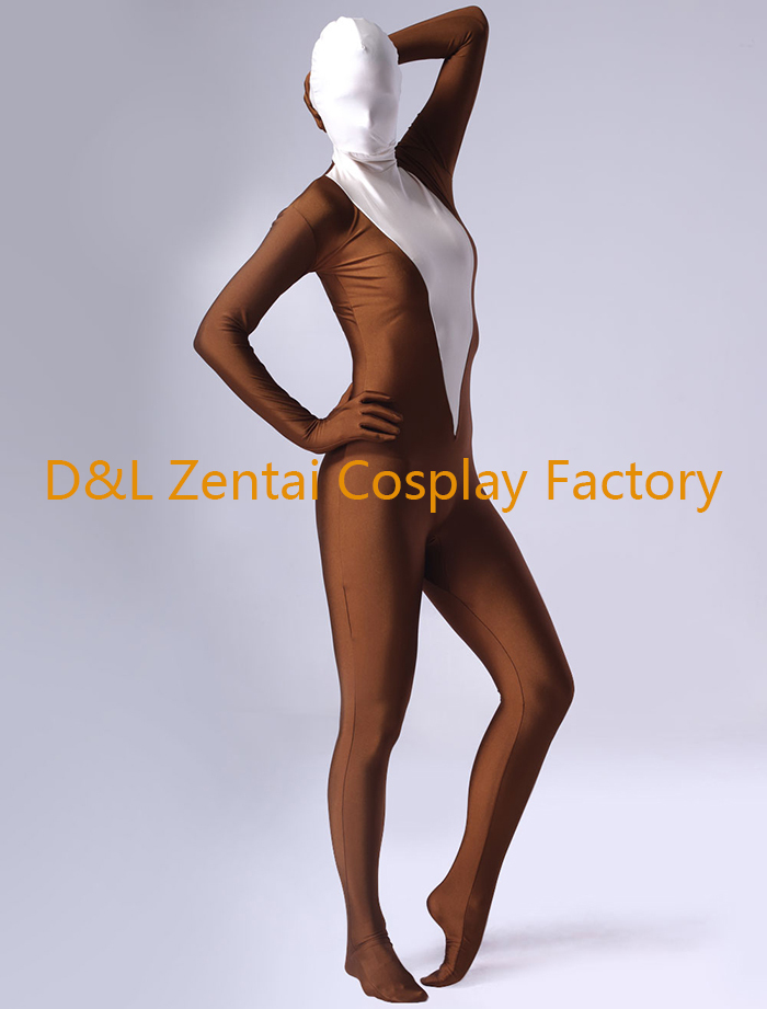 Free Shipping Dhl Sexy Women Coffee And White Lycra Spandex Zentai Suits Skin Tight Bodysuit One Piece Halloween Party On Aliexpress Com Alibaba Group