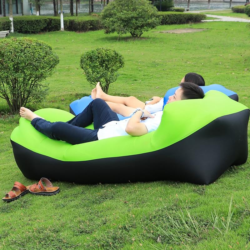 2017 Drop Shipping Fast Inflatable Lounger Sofa Lazy <font><b>bag</b></font> Sleeping Air <font><b>Bag</b></font> Camping Portable Air Sofa Beach Bed Chair Banana Sofa