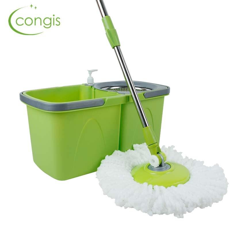 Congis Magic Mop 360 seau à vadrouilles rotatives pour nettoyage de maison fibre automatique Double entraînement outils de nettoyage de sol en acier inoxydable