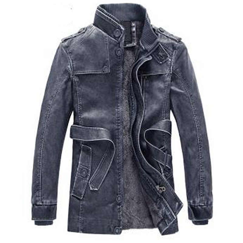 2018 New leather jacket winter jacket men fashion leather jacket solid stand collar wool liner high quality faux leather coat in Faux Leather Coats from Men 39 s Clothing