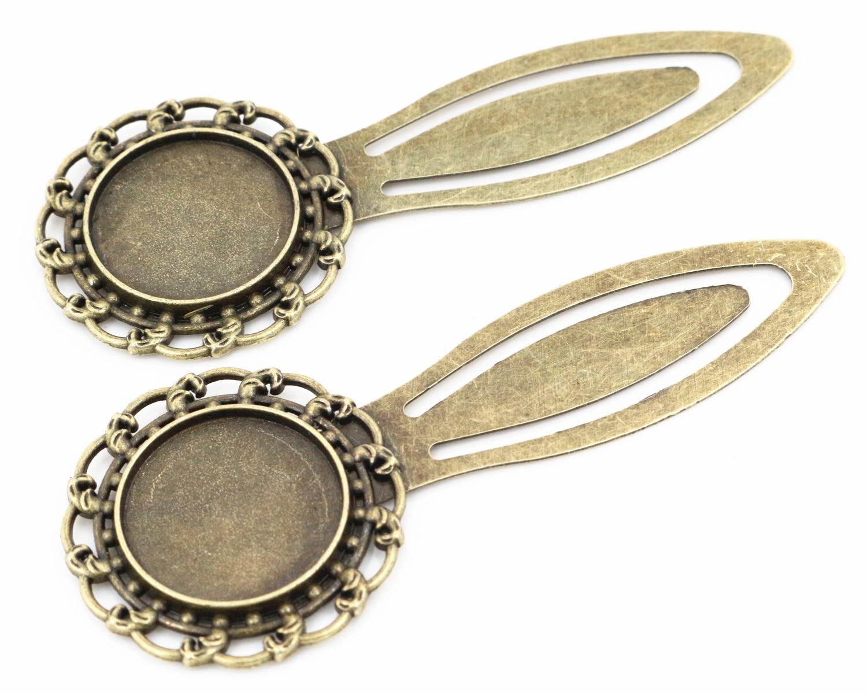 New Fashion 2pcs 20mm Inner Size Antique Bronze Simple Style Handmade Bookmark Cabochon Base  Cameo Setting (I1-25)