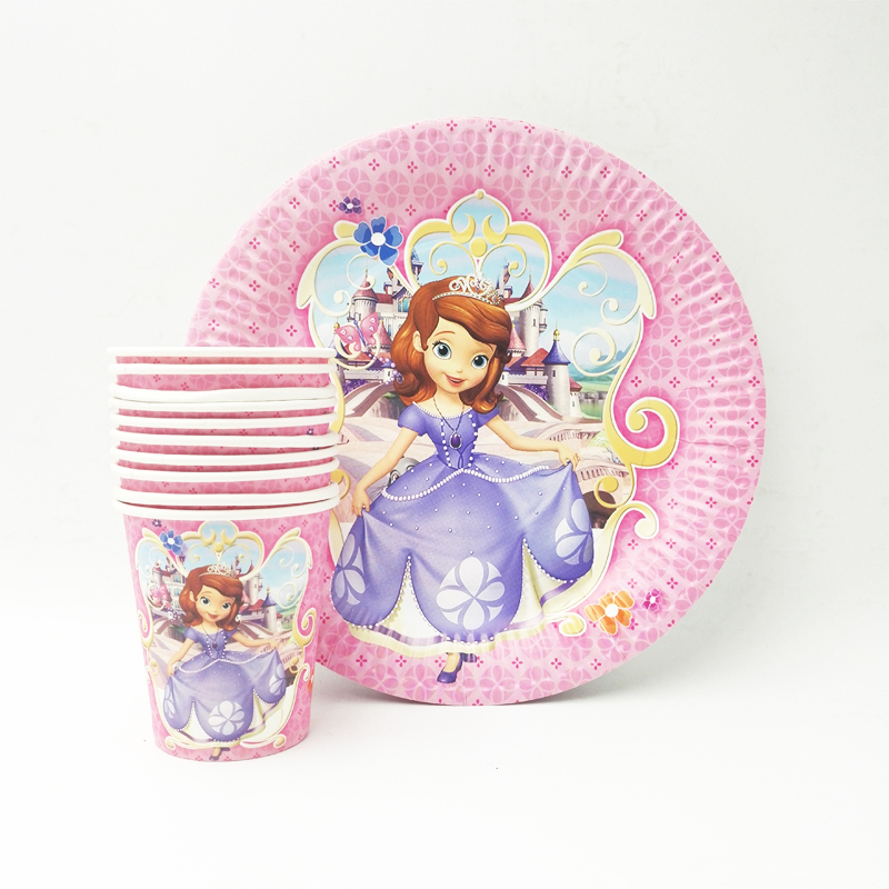 20pcs/set Sofia Princess Plate/Cup For Kids Decoration Festival Supply Party Supply girls Birthday Cartoon Theme Party
